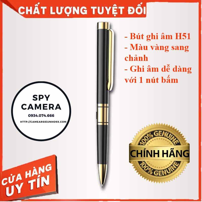 Bút Ghi ÂM H51 Vàng Gold Ghi âm đơn giản với 1 nút bấm